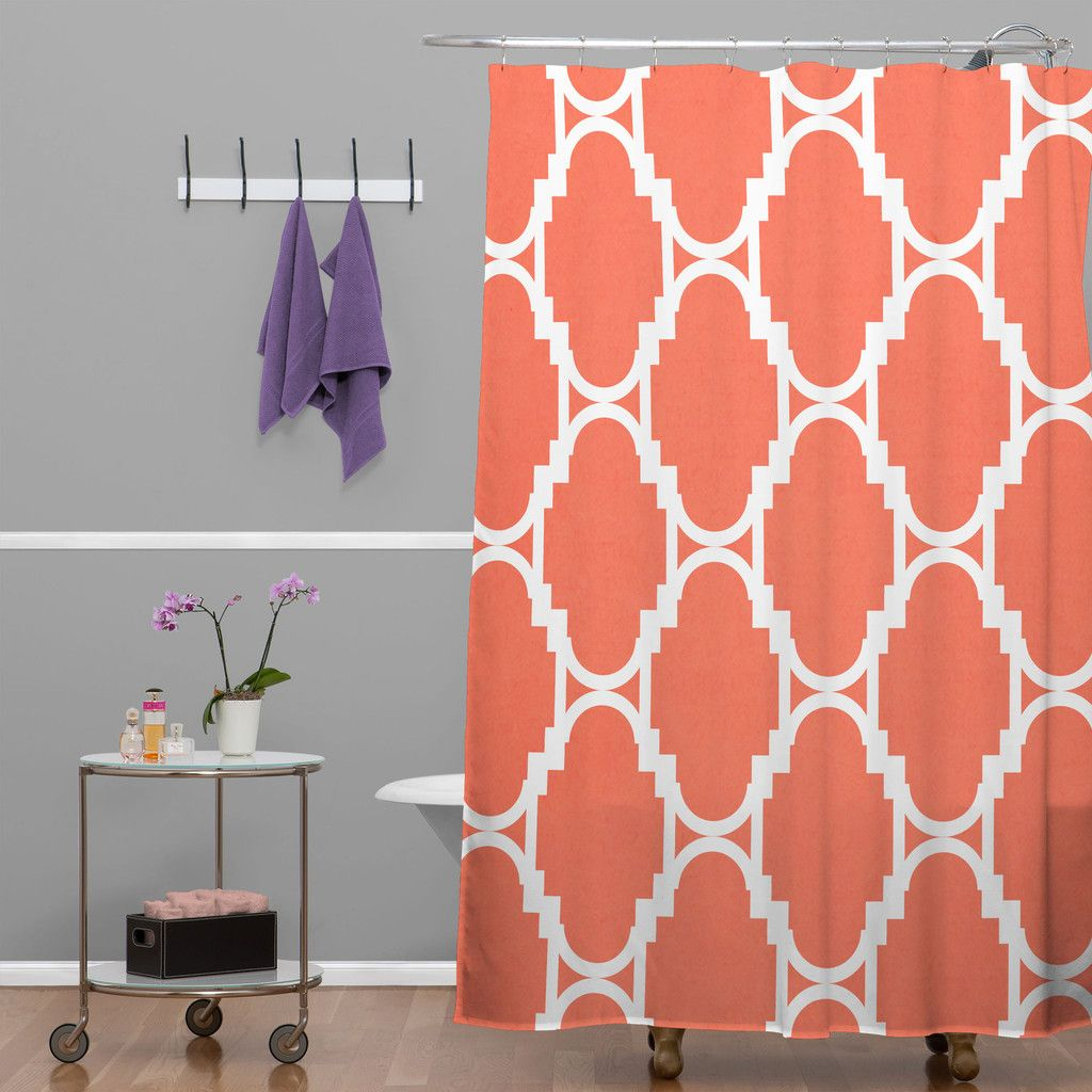 Rebecca Allen Pillow Talk Coral Shower Curtain Deny Designs Home Accessories Turquoise Room Turquoise Shower Curtain Coral Shower Curtains