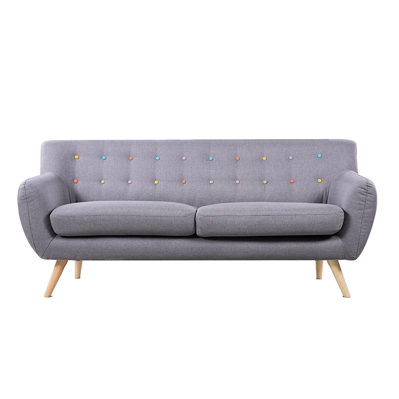 amazon com mid century modern linen fabric sofa loveseat in colors rh pinterest com