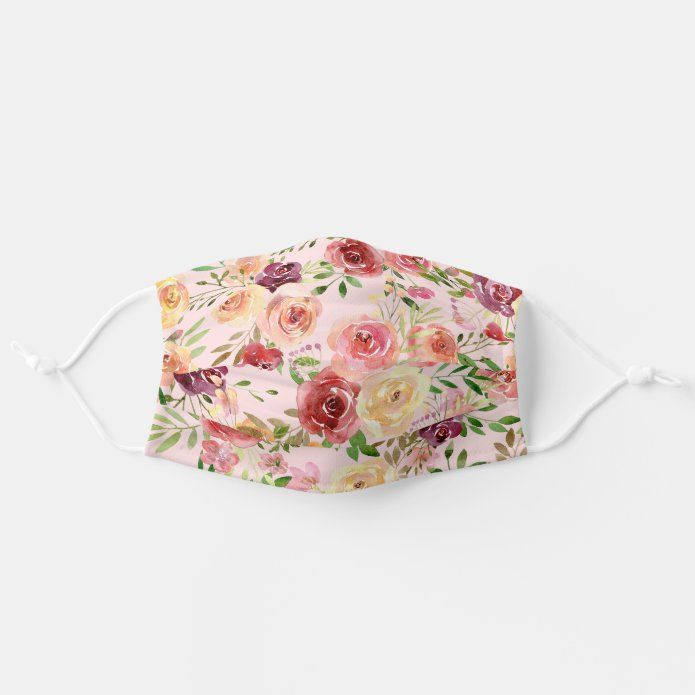 Pretty Peach Peony Floral Adult Cloth Face Mask |