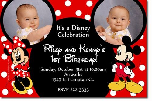 Mickey Mouse and Minnie Mouse Ears Birthday Invitations *DOWNLOAD - mickey mouse invitation template