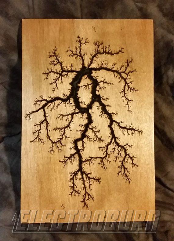 High Voltage Woodburning Lichtenberg Fractal Pattern 12x18 Captured Lightning Wood Burning Art Wood Art Projects Wood Diy