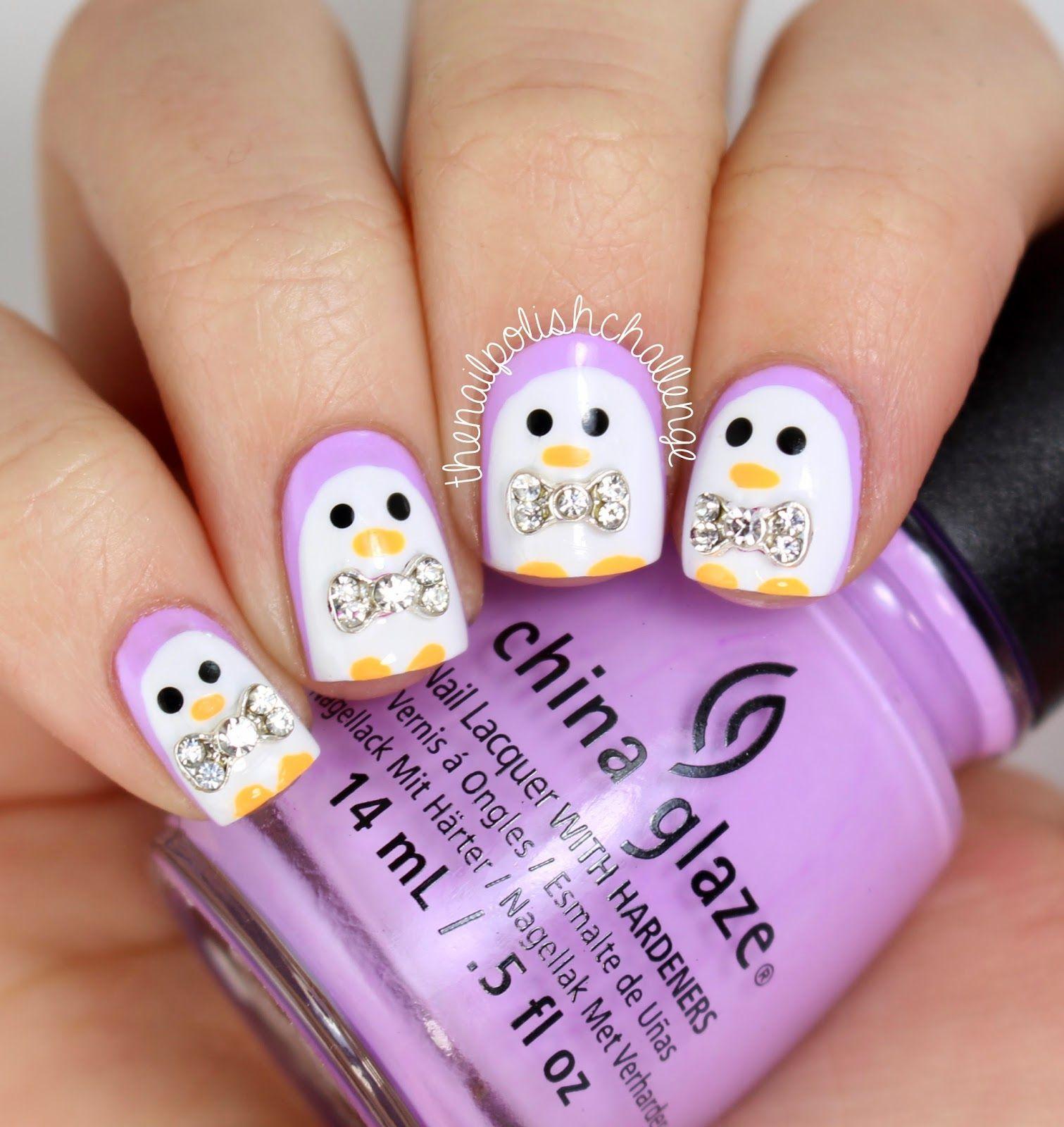 Cute Penguin Nail Art (with 3D bows!) - The Nail Polish Challenge ...