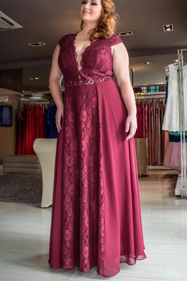 d14b6b9b7fd Burgundy A Line Floor Length Deep V Neck Sleeveless Lace Chiffon Plus Size  Prom Dresses S16