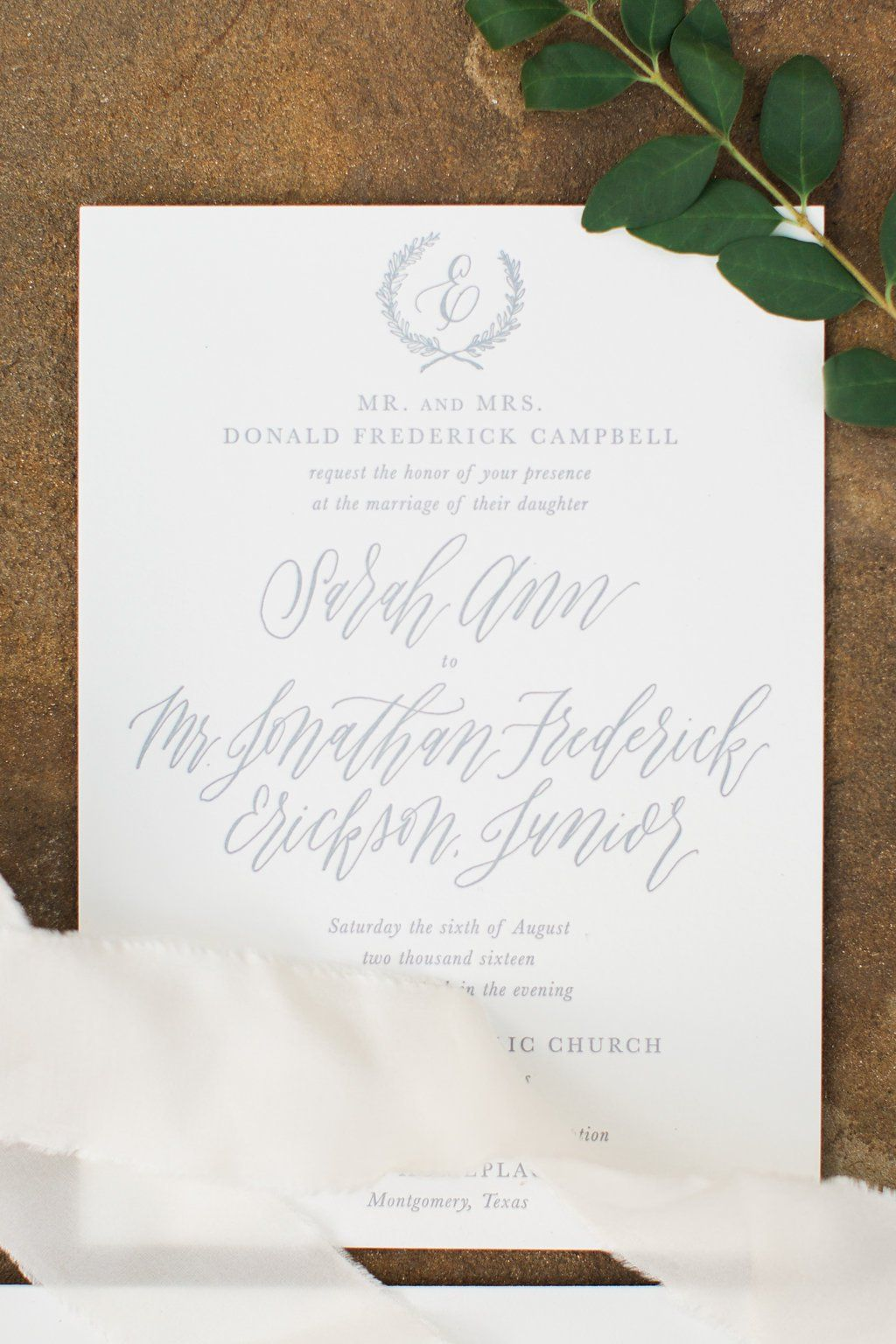 wedding invitation photo%0A Dallas Wedding Calligraphy   Sarah Ann Design