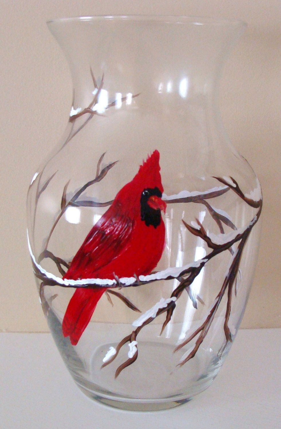 Cardinal Vase Christmas Winter Glass,Red Cardinal,coworker gift ...