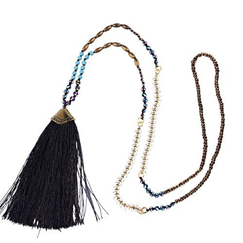 KELITCH Seed Beaded Necklace with Created-Turquoise Tassel Pendant