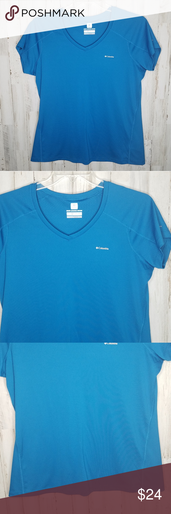 Columbia Omni Freeze Shirt Teal Short Sleeve Xl Columbia Omni