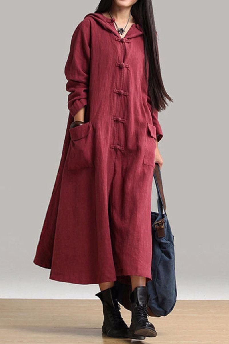 Cotton linen plus size sweep long sleeve loose casual coat women