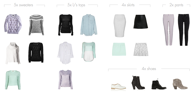 20-piece Winter Capsule Wardrobe -- formula:  10 tops, 5-6 bottoms, 4 shoes