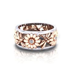 Daisy Dragonfly Wedding Ring - Expertly crafted from white and rose gold in America by the jewelry artisans at Jewelry Designs.