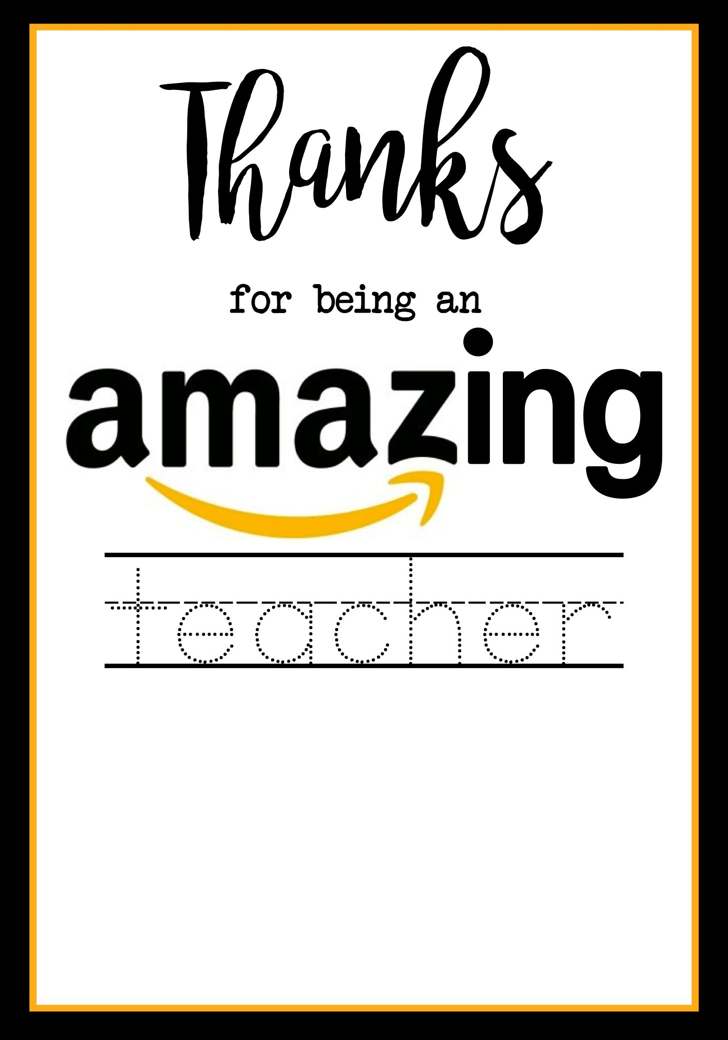 Teacher Appreciation Amazon Card