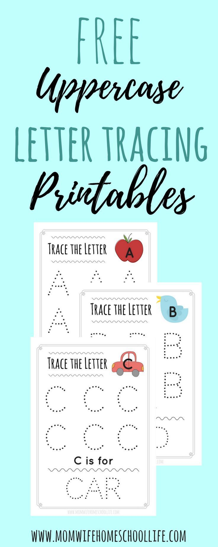 Trace the Letter: Uppercase Alphabet Tracing Worksheets | Letter ...