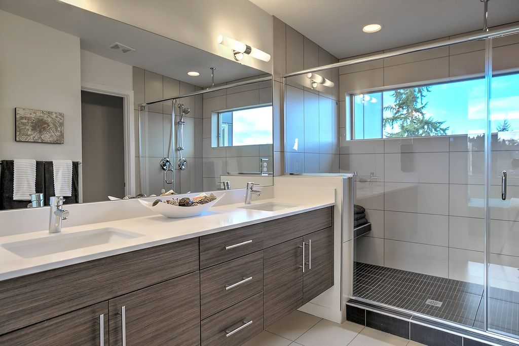 Modern Master Bathroom With Corian Counters Drop In