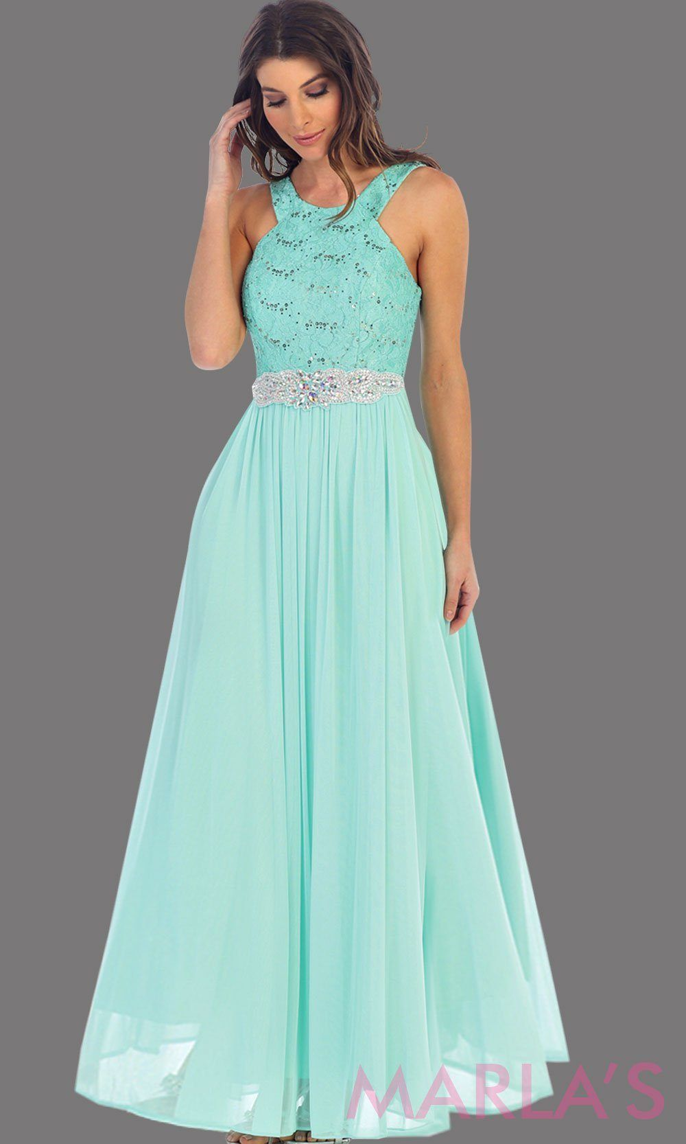 61ac9b494b5 Long high neck mint flowy party dress. The high neck is lace and flows into