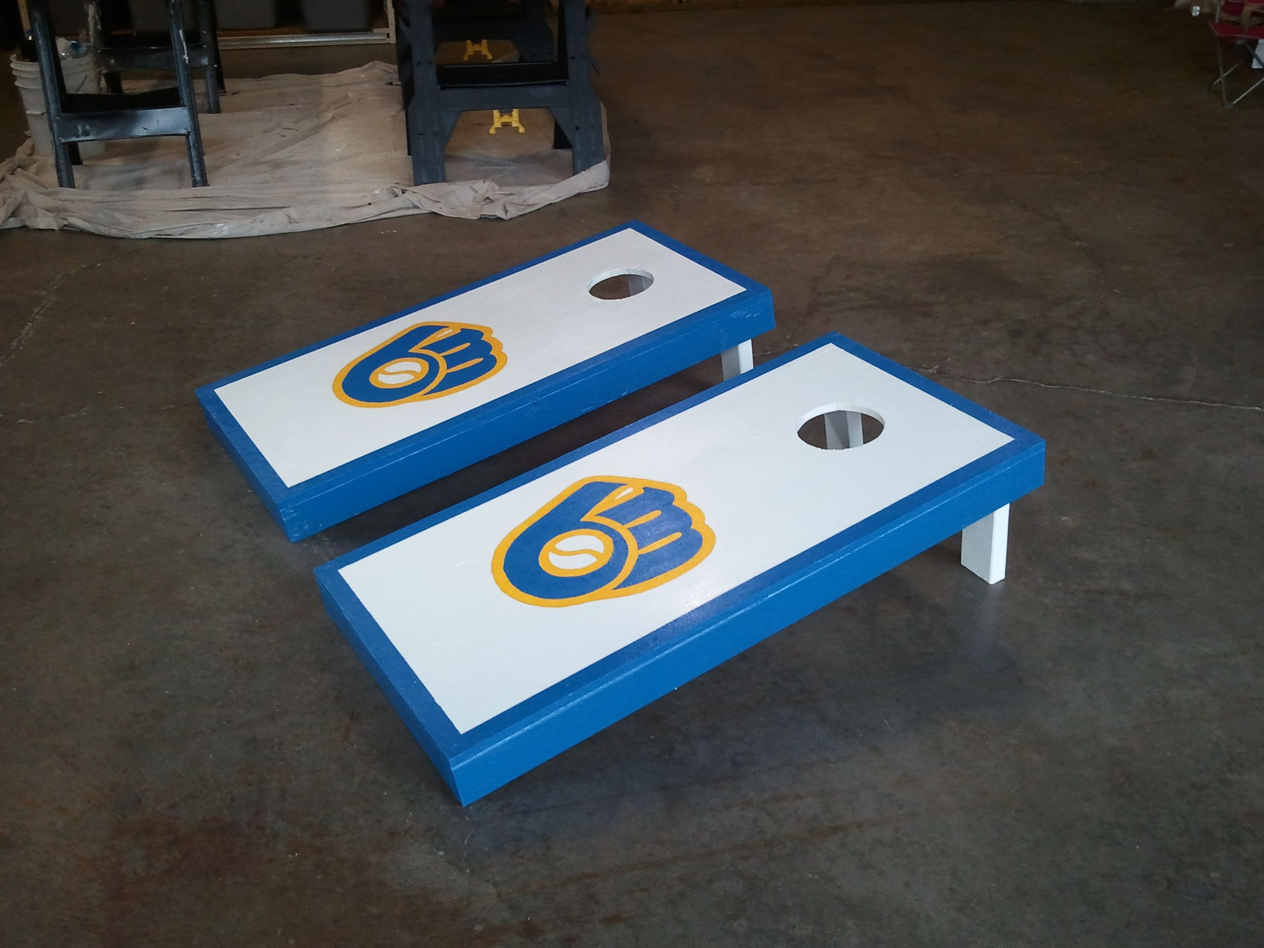 hand painted milwaukee brewers cornhole boards 2 175 - Cornhole Boards For Sale