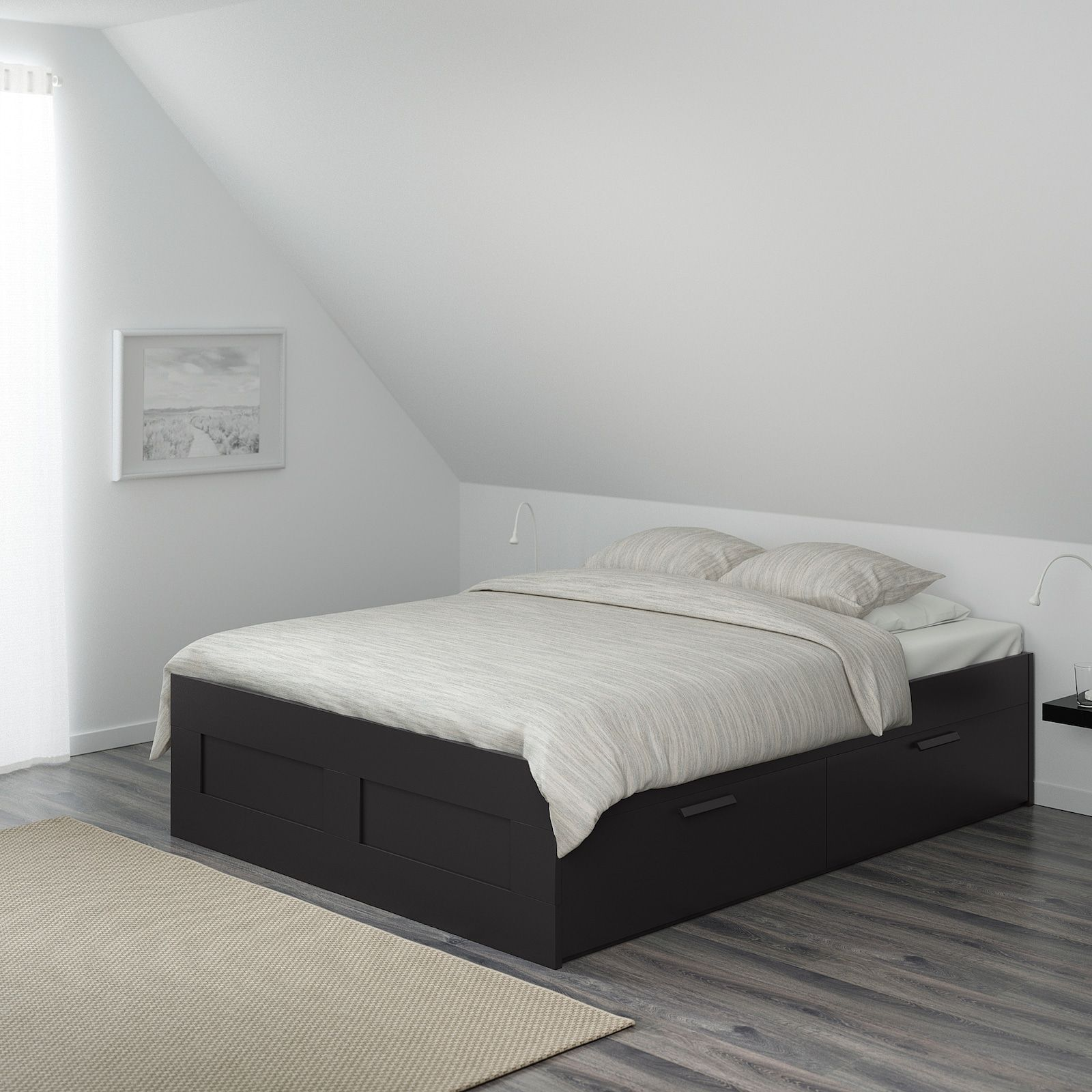 Brimnes Bed Frame With Storage Black Full Ikea In 2020 Bed Frame With Storage Brimnes Bed Black Bed Frame
