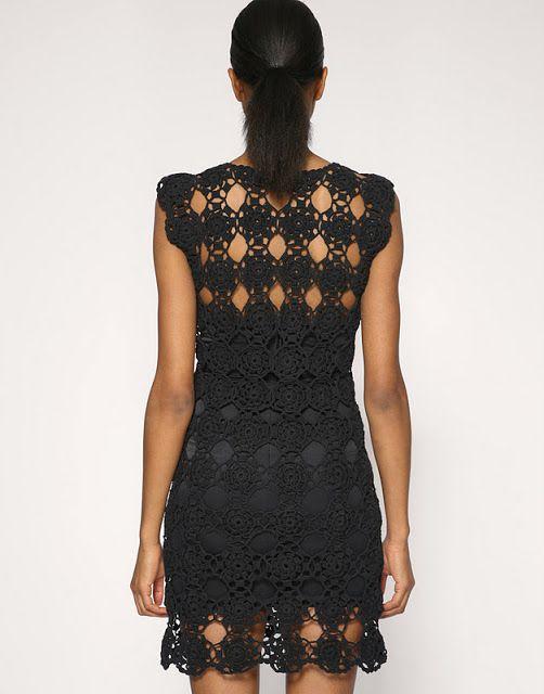 Crochet Outstanding: Black Vestido Crochet. Fácil.