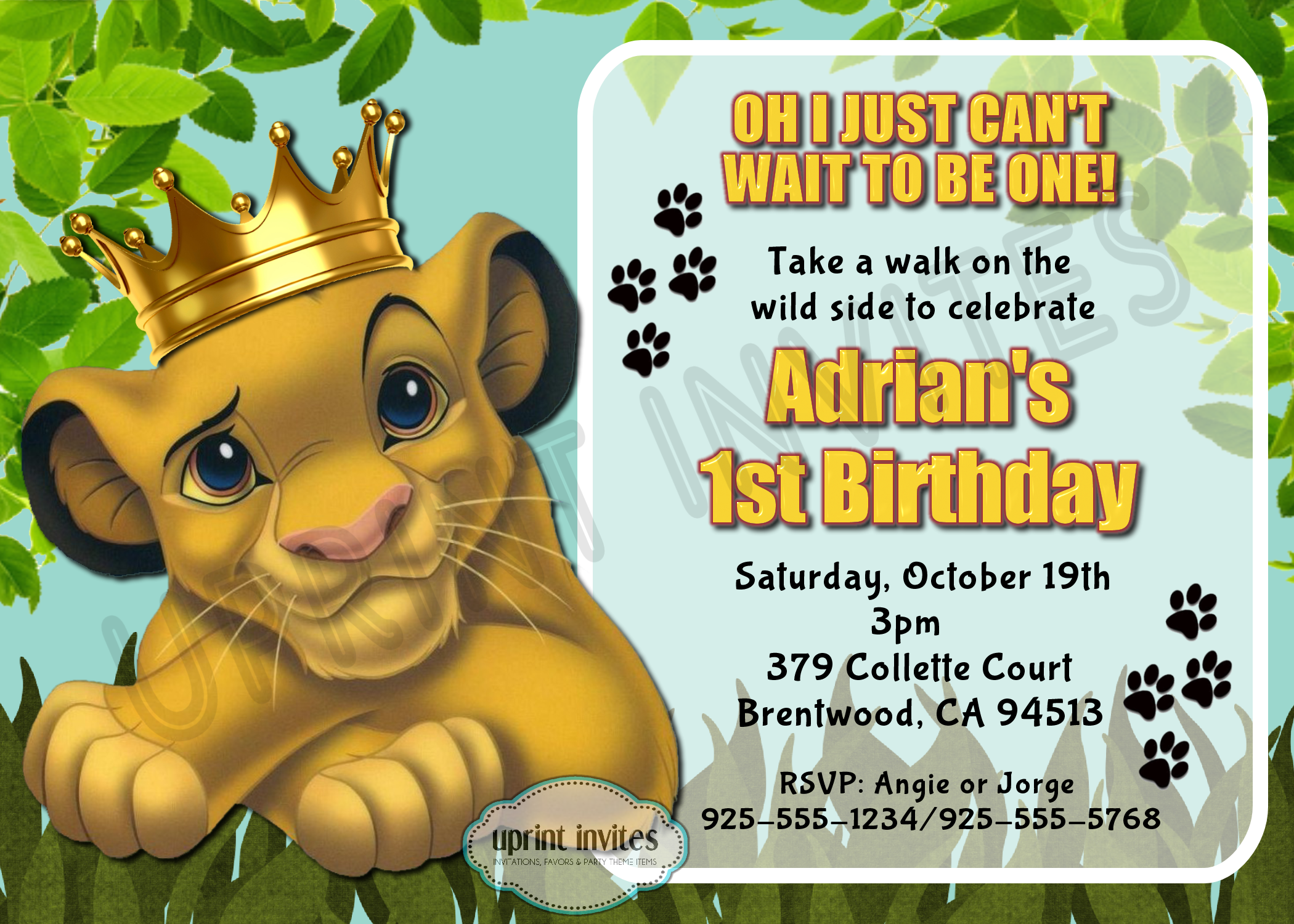 bday party invitation mail%0A Lion king birthday