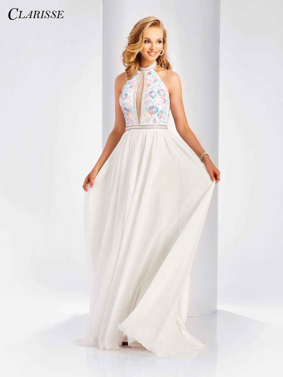 Clarisse floral cutout halter prom gown vow renewal