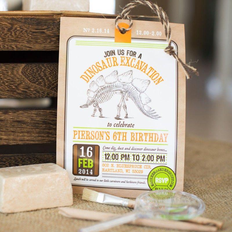 Dinosaur Dig Excavation Birthday Party Printable Invitation