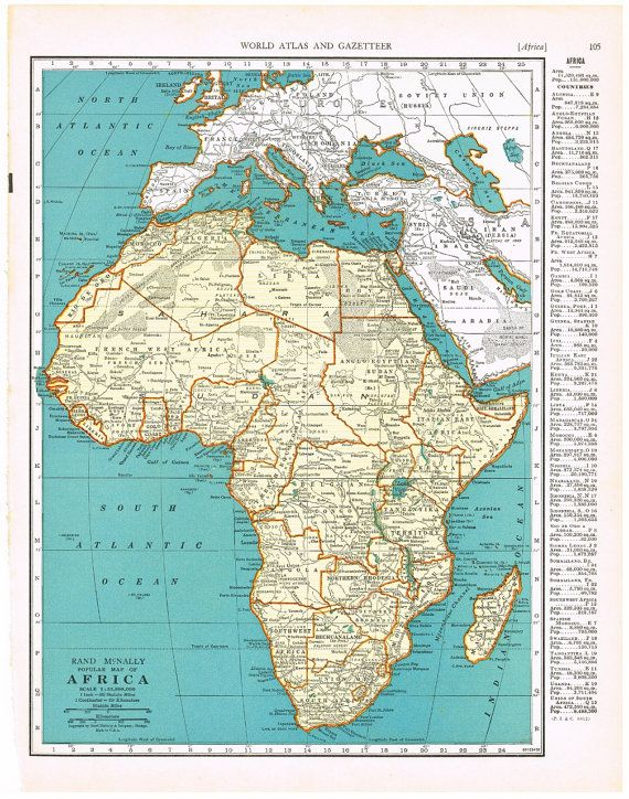 Antique Map AFRICA 1940 Map Page Buy 3 by KnickofTime, $11.50