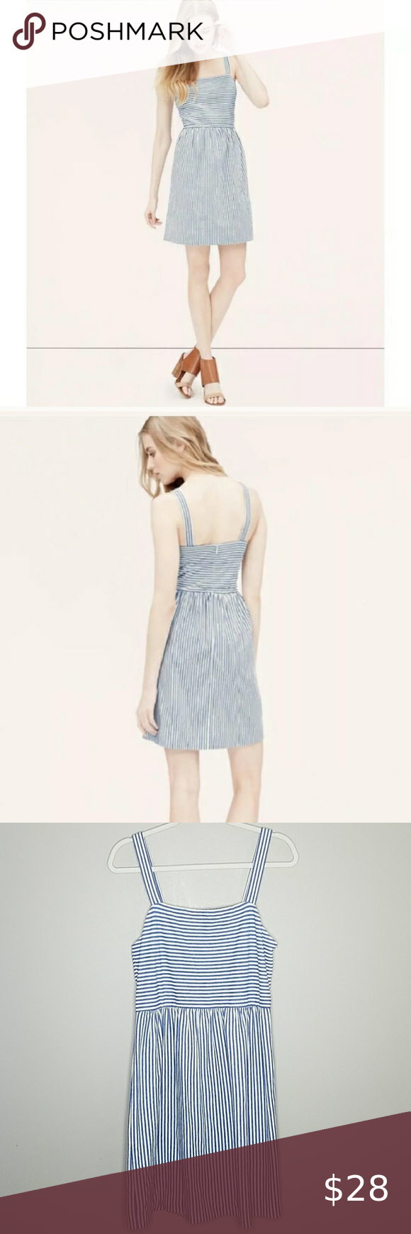 Loft Striped Strappy Flare Dress, Medium Loft Striped Strappy Flare Dress, Medium in Blue and White Stripes, 100% Cotton, Zipper down the back.  Measures approximately 38
