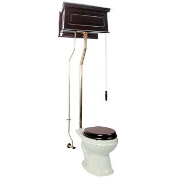 High Tank Pull Chain Toilet Dark Oak #high #tank Pull Chain #toilet Bone Round Brass # 15941