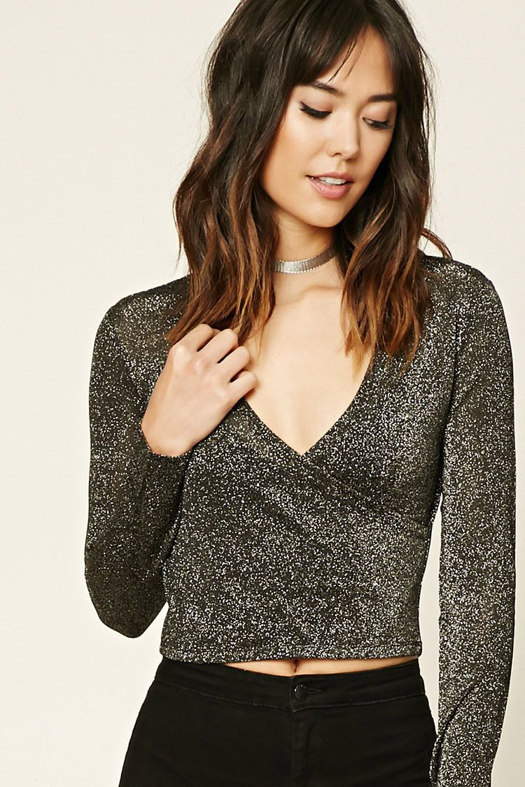 956546a9b74fa Forever 21 Contemporary - A ribbed knit semi-cropped top featuring a  metallic sheen