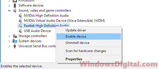 Enable driver No audio output device is installed | Windows