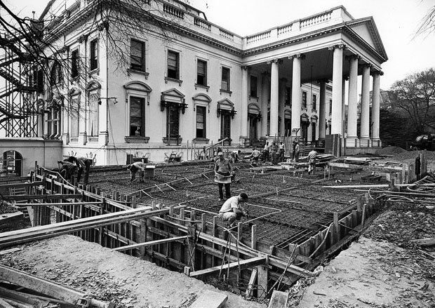 photos of the white house gutted during its truman reconstruction rh pinterest com