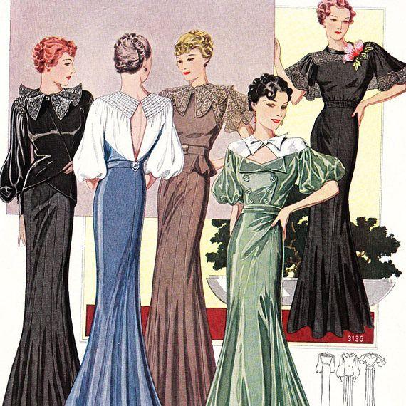 Ilustración de vestidos de los años 40's