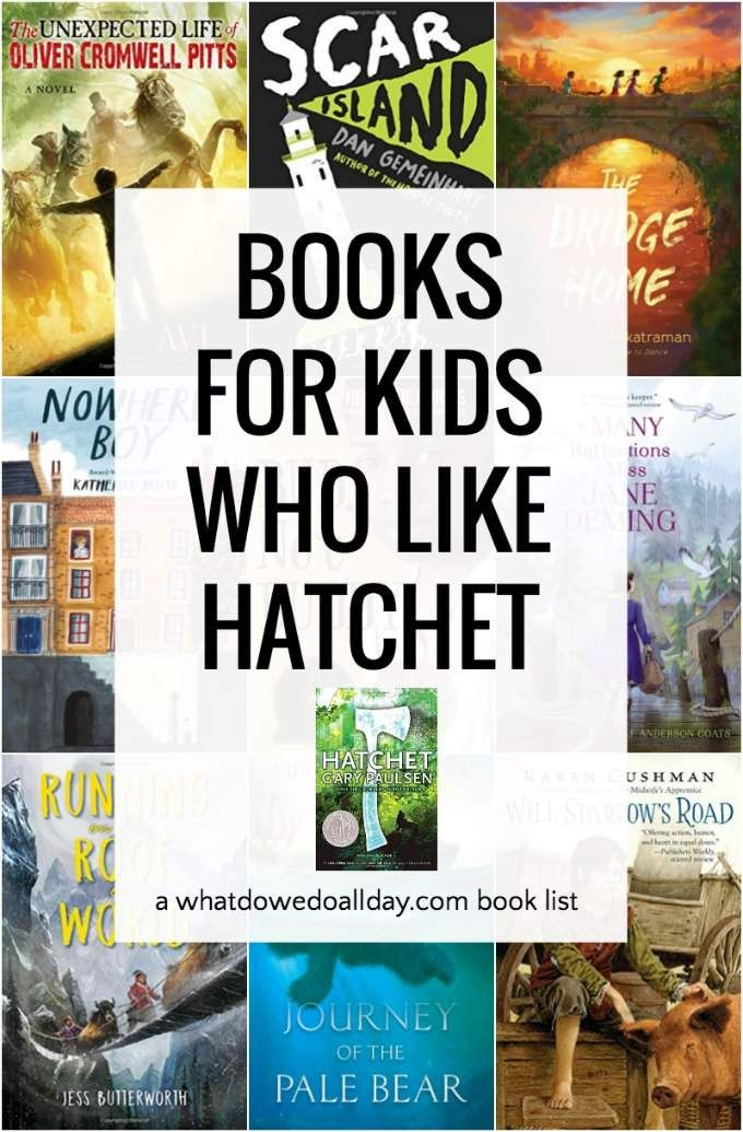 Books Like Hatchet for Kids Who Enjoy Survival Stories is part of Books for teens, Survival books, Grade book, Books for boys, Chapter books, Survival novels - Children's books similar to Hatchet  Fans of survival stories will love these middle grade novels featuring boys and girls who struggle to make it under difficult and often dangerous circumstance