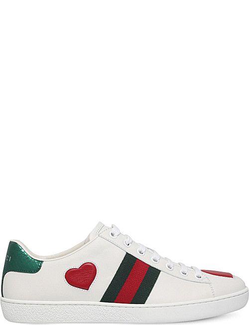 6c34bd0d5f GUCCI New Ace heart-detail leather trainers | Cipő, szandál, bakancs ...