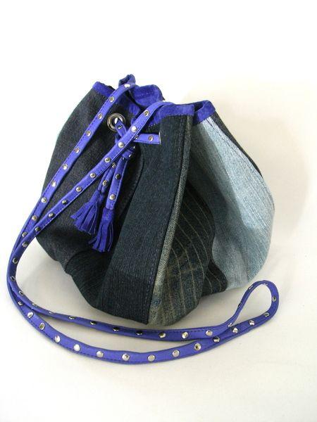 Leder Jeans Tasche Kleine Susse Ausdruckstarke Leder Velour Tasche Mit Jeans Patchwork Futter Ist Komplett In Lila Blaues Vel Jeans Tasche Ledertasche Taschen