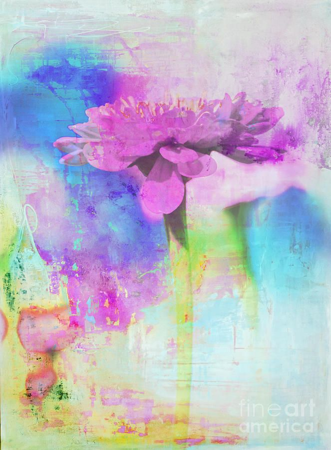 Purple Flower Abstract Mixed Media by WALL ART and HOME DECOR