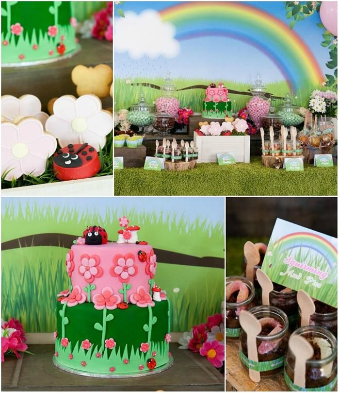 garden themed 2nd birthday party kids party ideas pinterest geburtstagsdeko m dchen und. Black Bedroom Furniture Sets. Home Design Ideas
