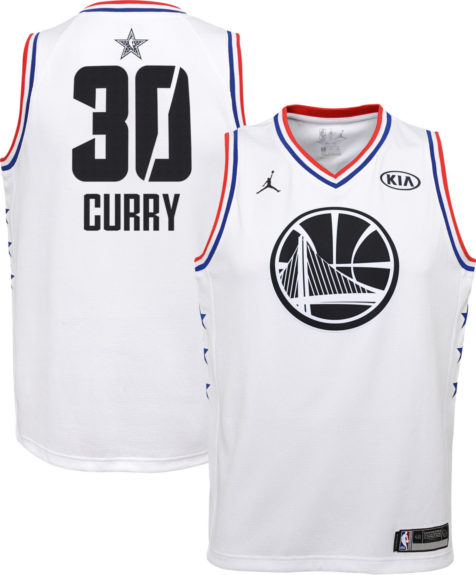 773e16b85fe Jordan Youth 2019 NBA All-Star Game Steph Curry White Dri-FIT Swingman  Jersey, Boy's, Size: Medium