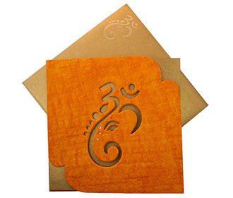 Hindu Wedding Card With Ganesha Image In Orange Handmade Paper