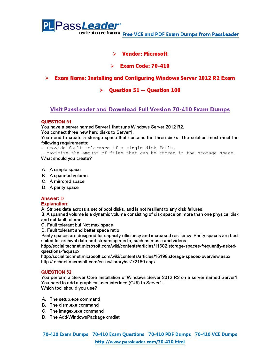 70 410 Exam Dumps With Pdf And Vce Download 51 100 70 410 Exam