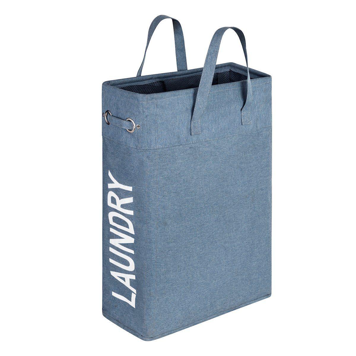 Amazon.com: WISHPOOL Slim Handy Canvas Laundry Bag Hamper Foldable ...