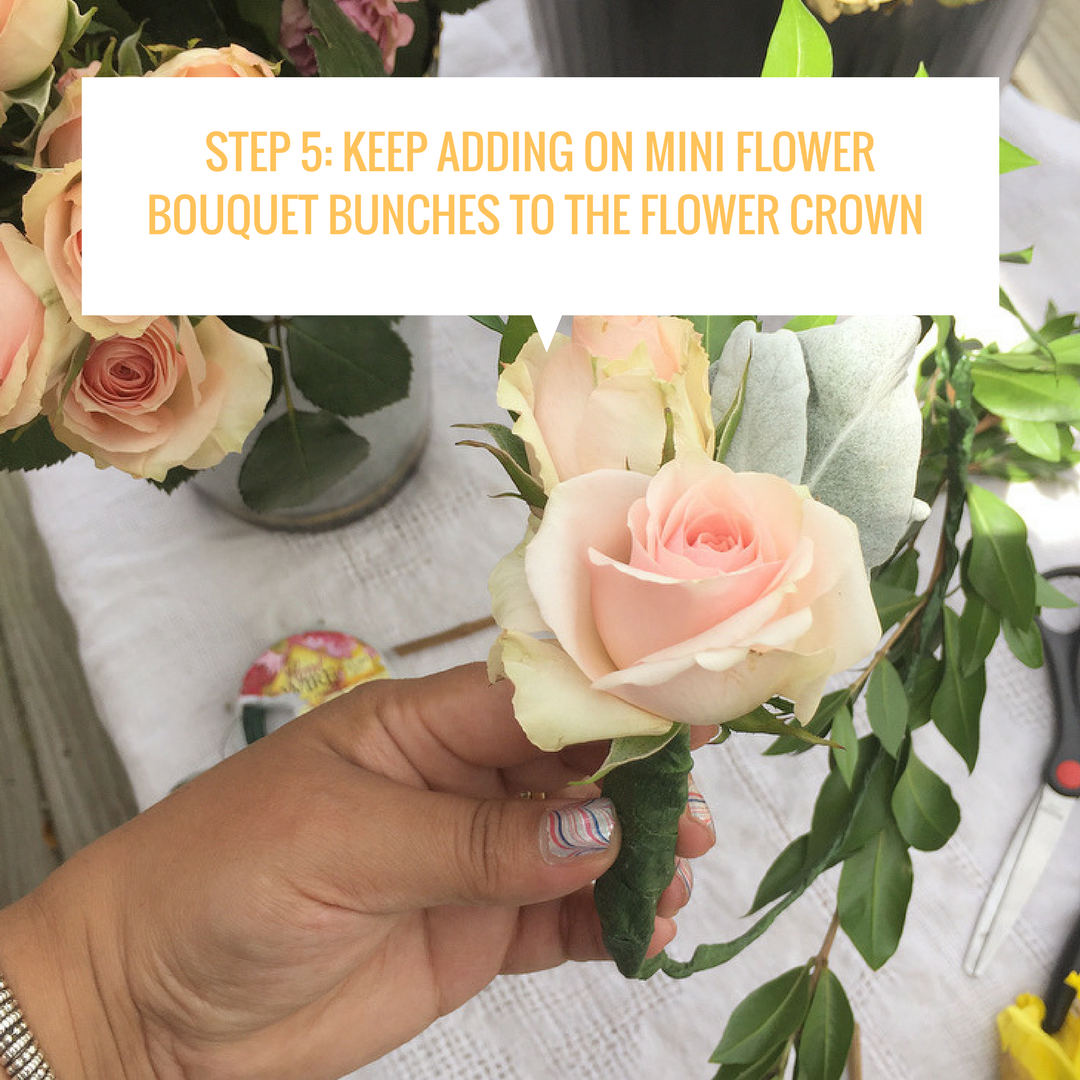 Step 5 keep adding on mini flower bouquet bunches to the flower step 5 keep adding on mini flower bouquet bunches to the flower crown how to izmirmasajfo