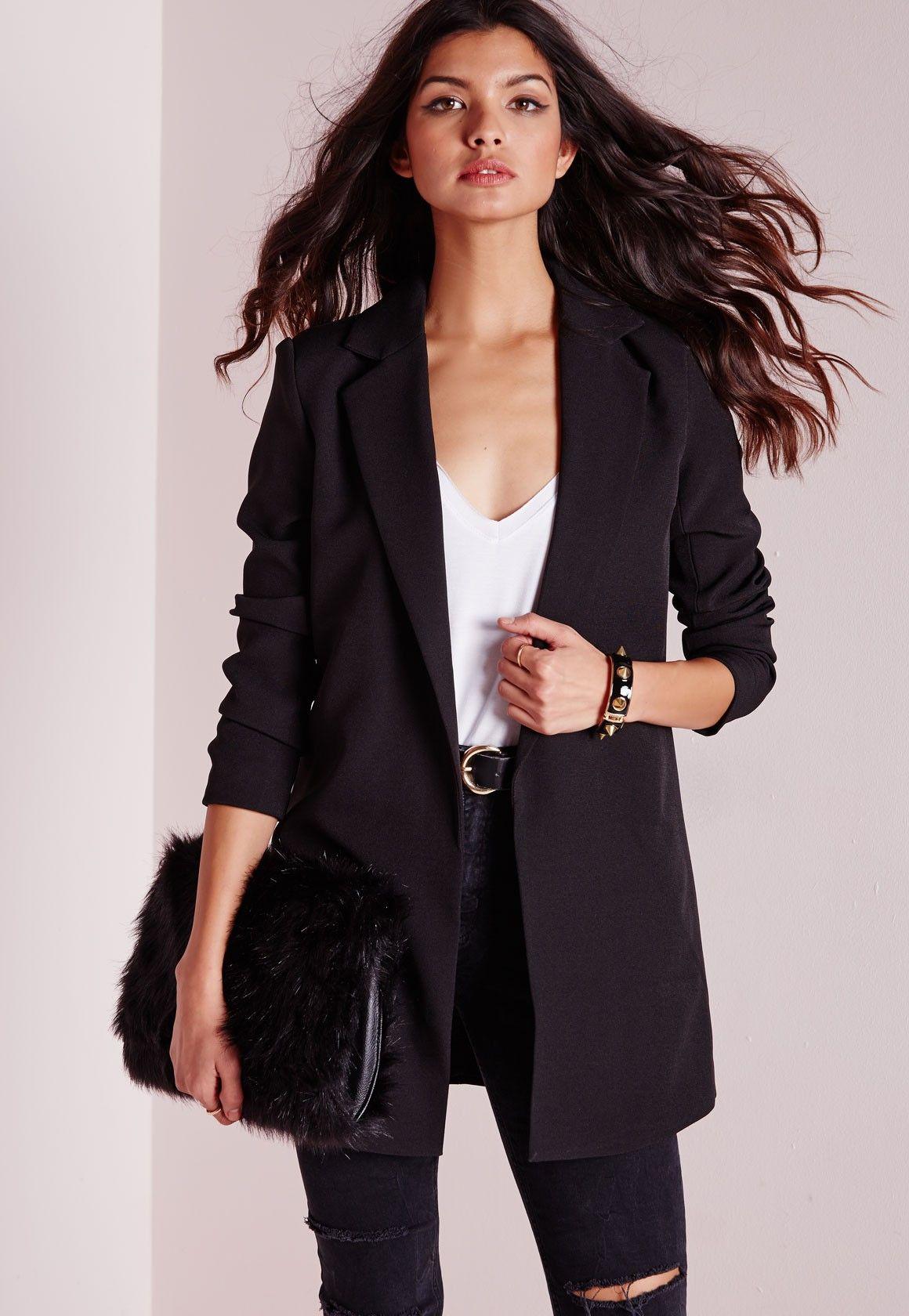 BLAZER NOIR LONG TAILORED FEMME | 79458627 WE Fashion