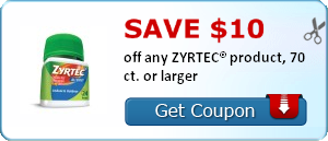 picture regarding Zyrtec Printable Coupon identified as Print Substantial Significance $10 Zyrtec Coupon! Coupon codes Discount coupons