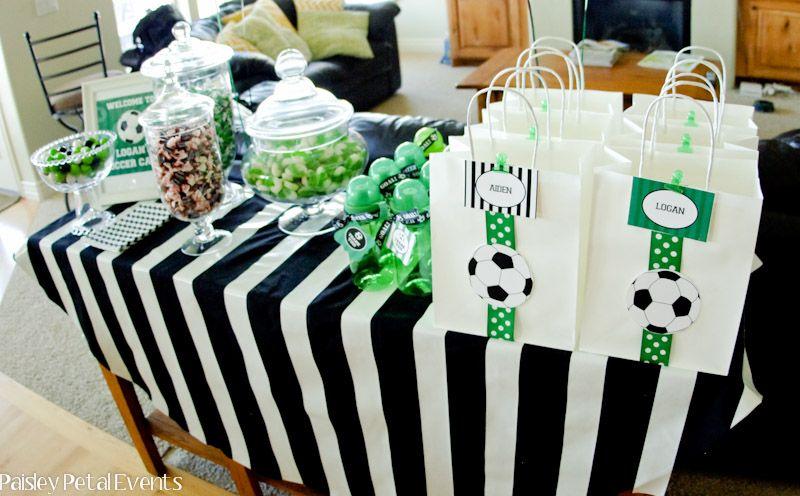 Paisley Petal Events soccer party favor table | Party Ideas ...