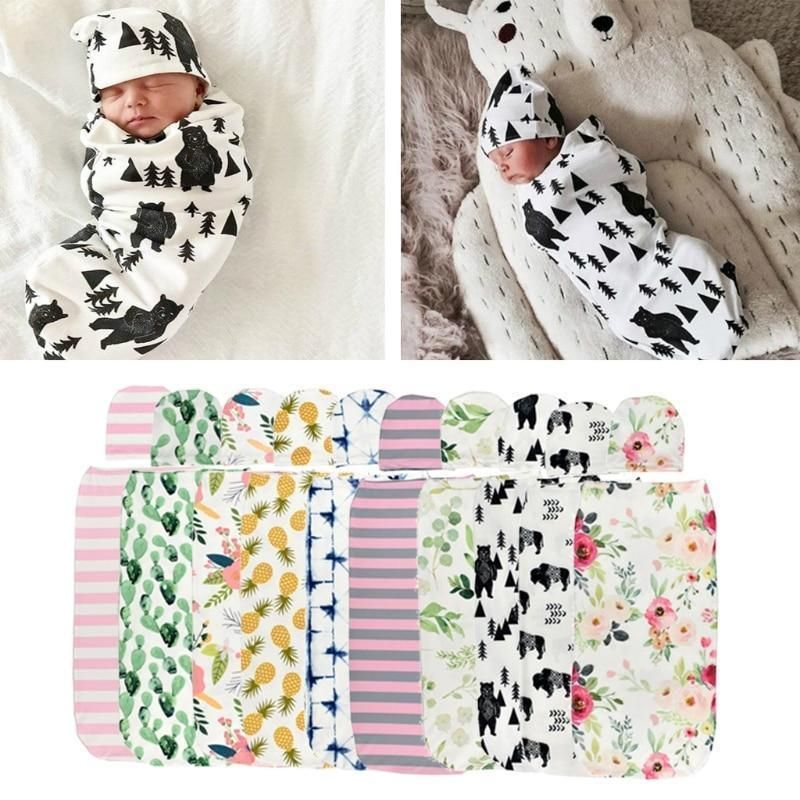 Sleeping Sack Soft Stretchy Cotton Newborn Photography Prop Baby Shower Gift for 0-6 Months Baby Boys Girls iZiv Newborn Swaddle Sack with Baby Hat