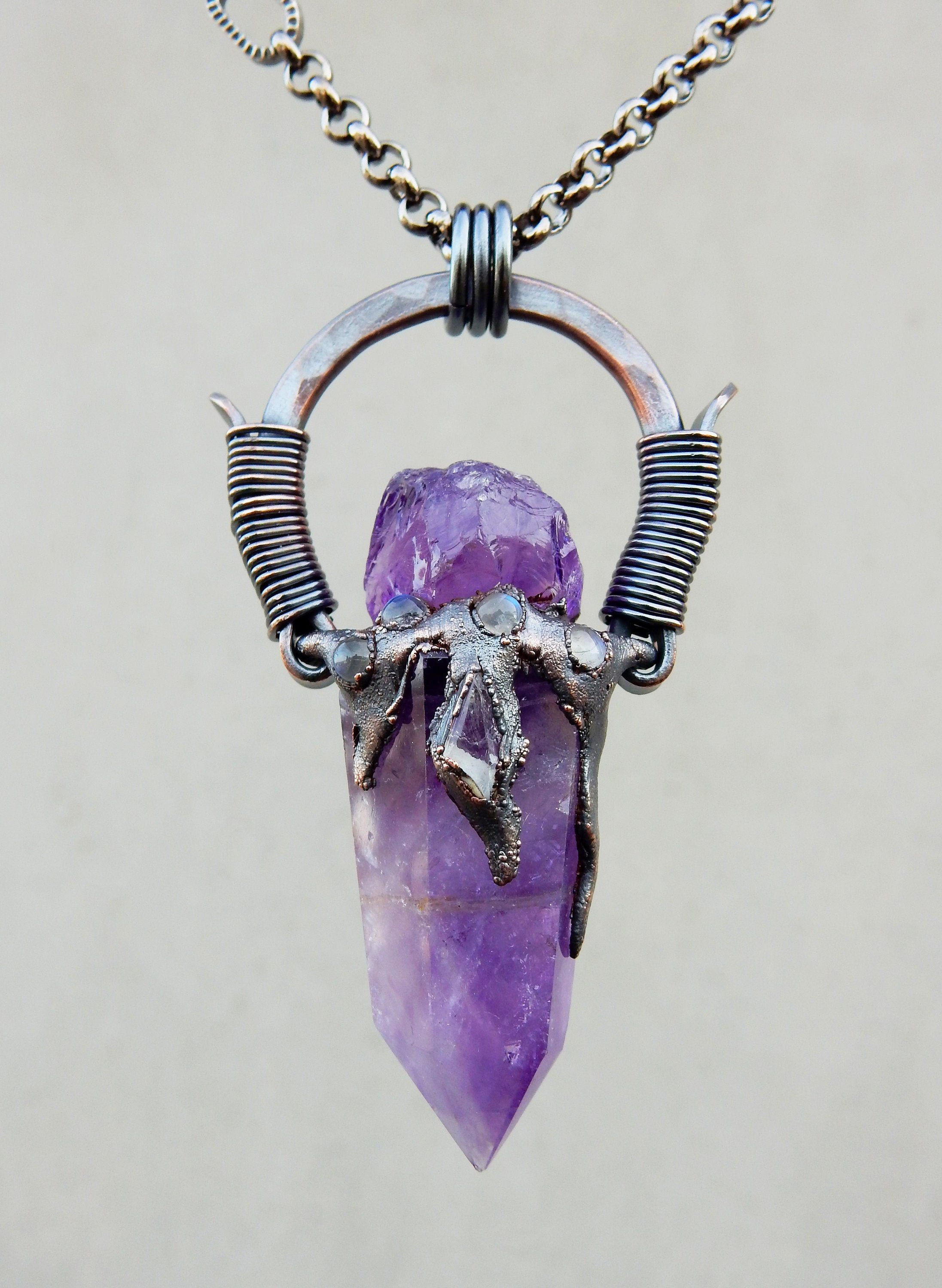 Tribal Amulet with Amethyst, Danburite and Rainbow