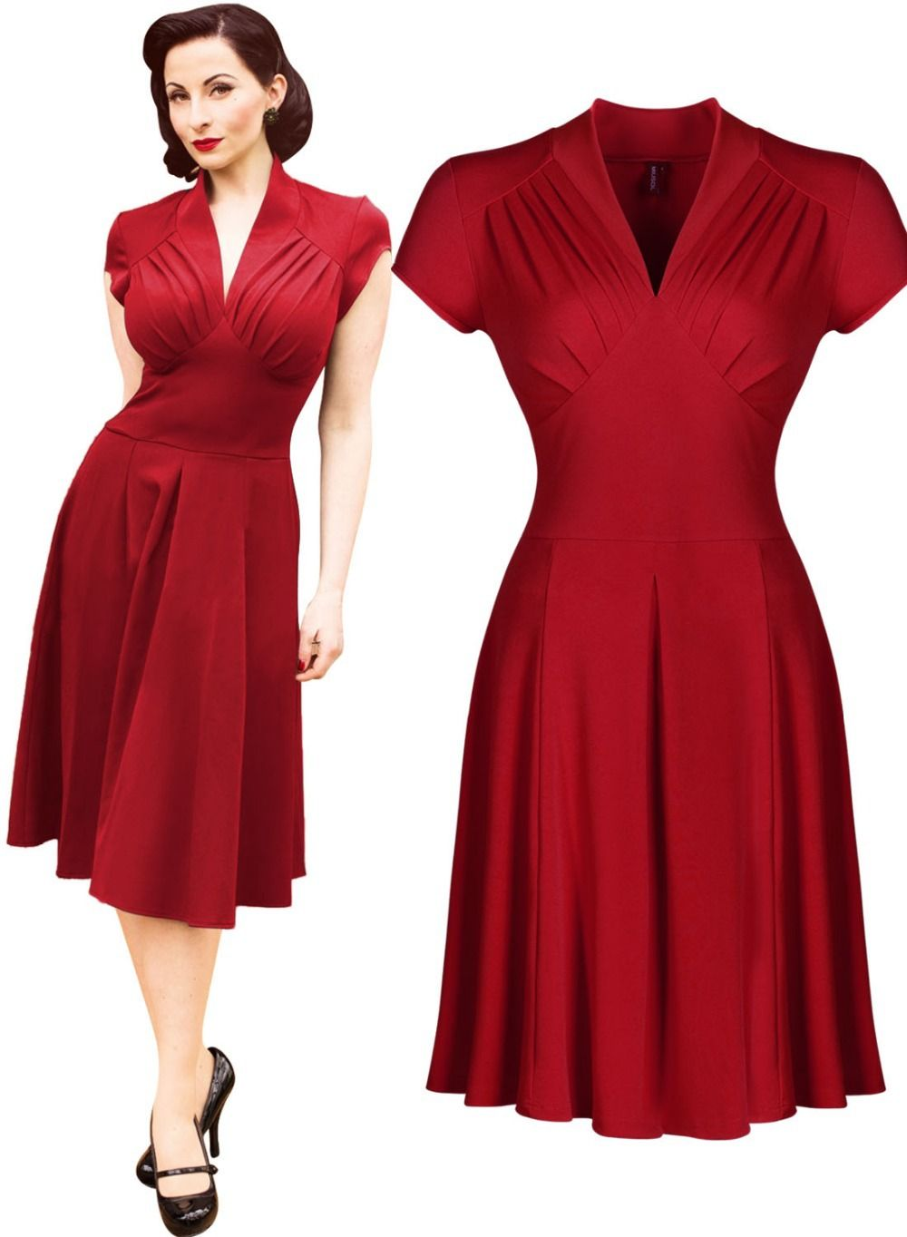 95086e815a Women s Vintage Style Retro 1940s Shirtwaist Flared Evening Tea Dress Swing  Skaters Ball Gown