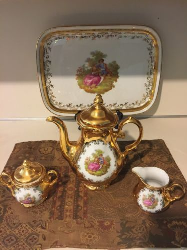 Antique HK Bavaria Germany handerbeit 24 kt gold 4 piece tea set\u003cbr/\u003e & Antique 24 KT Gold Over Porcelain 17pc Germany Bavaria Coffee/Tea ...