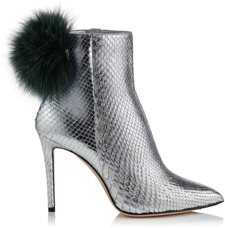 57521a4438db Jimmy Choo TESLER 100 Silver Python Booties with Bottle Green Fox Fur Pom  Poms