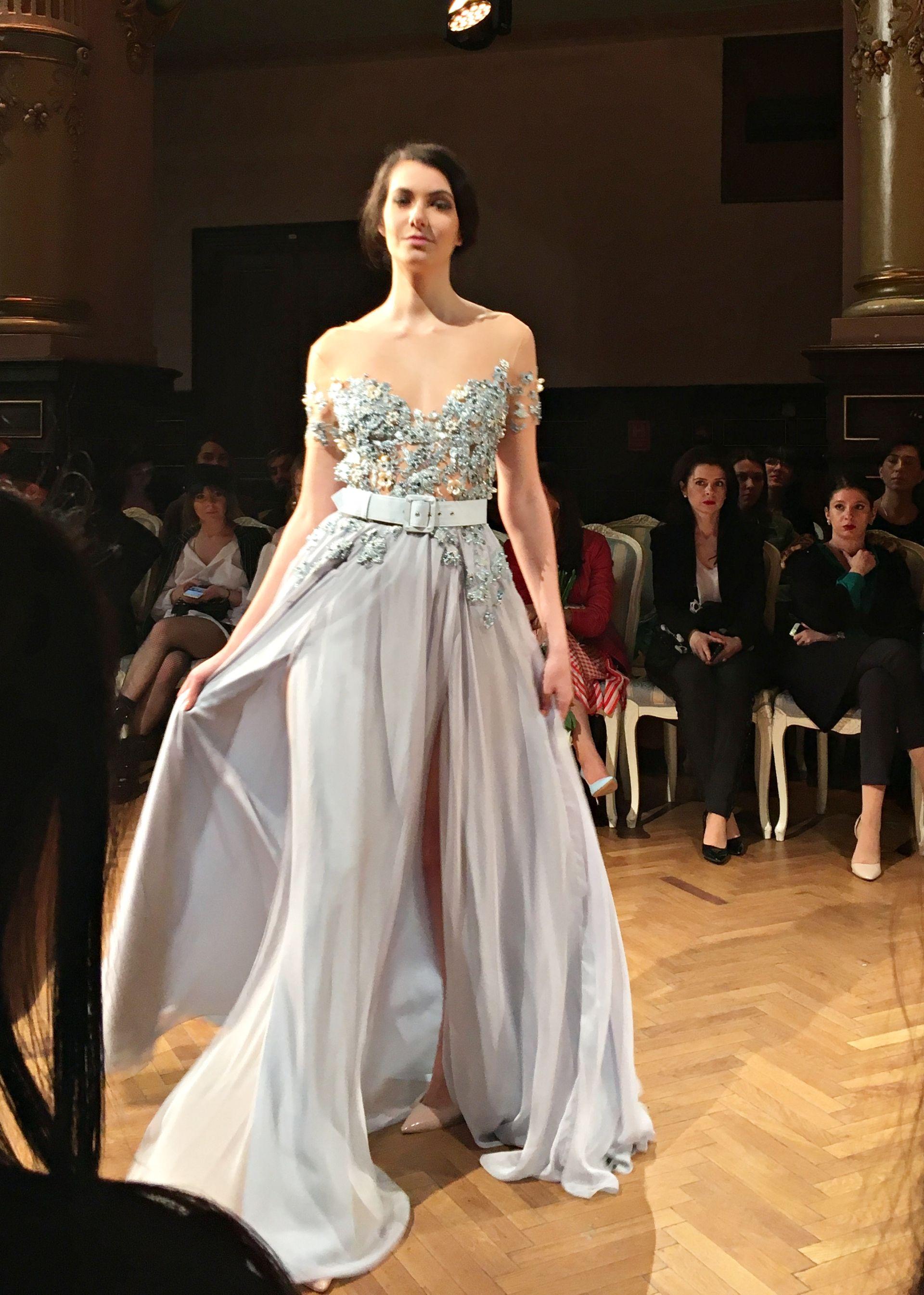 958494291ab3 O Blanc grey blue evening dress   Romanian Fashion Philosophy. See more  amazing designs on theurbandiva.com